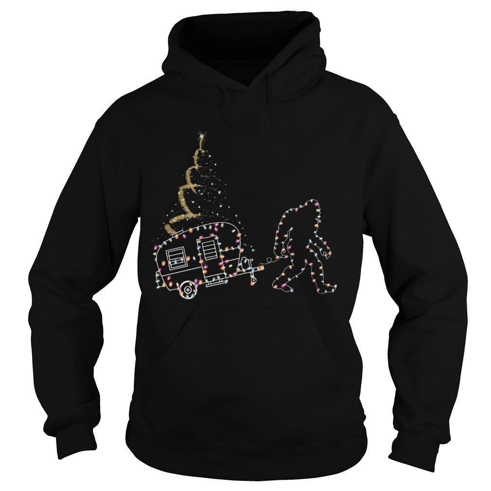 Christmas Lights Bigfoot And Camper Hoodie
