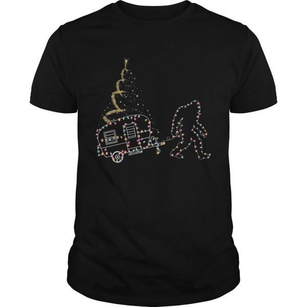 Christmas Lights Bigfoot And Camper Shirt