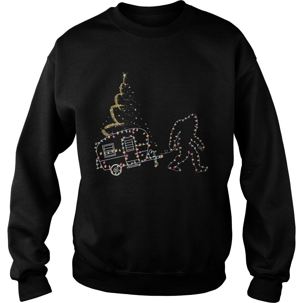 Christmas Lights Bigfoot And Camper Sweater