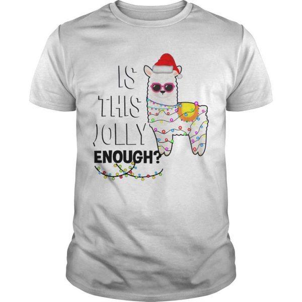 Christmas Lights Llama Is This Jolly Enough Shirt