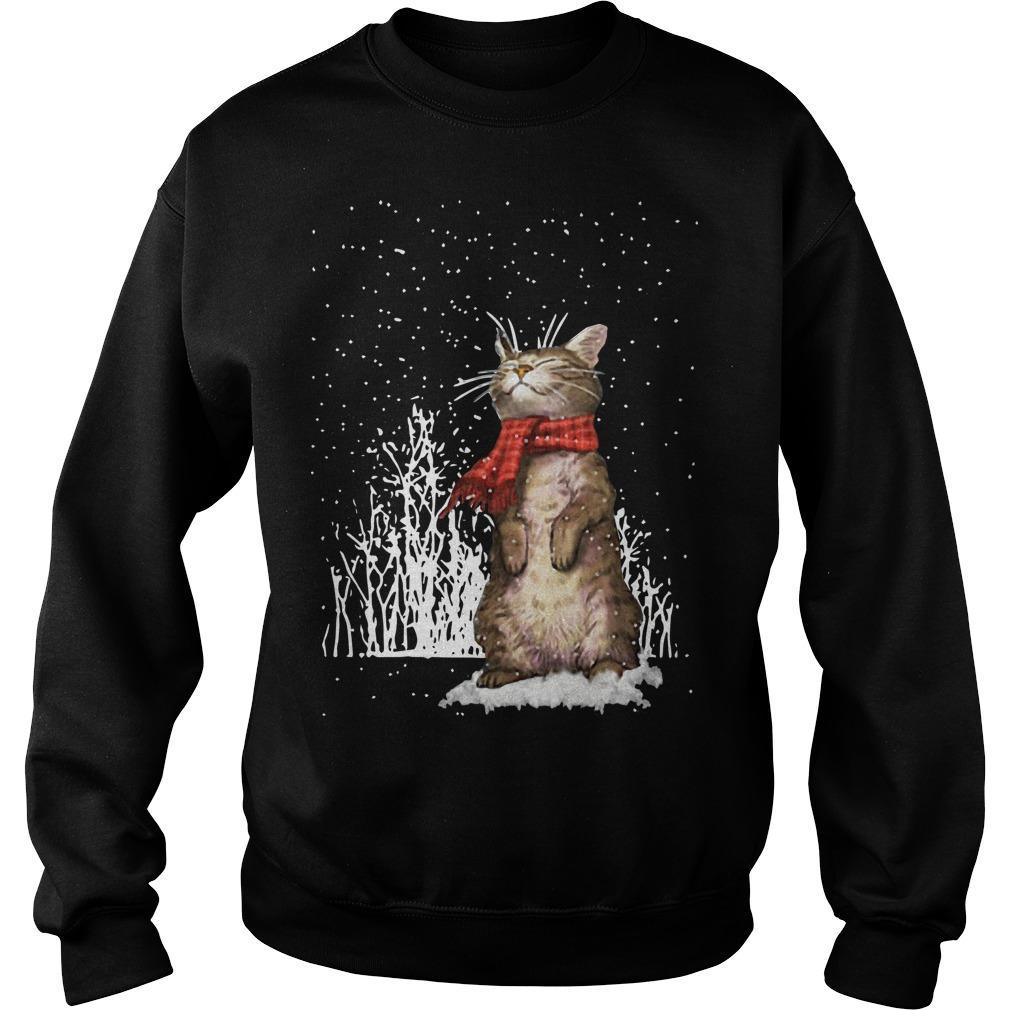 Cute Cat Under Snow Sweater