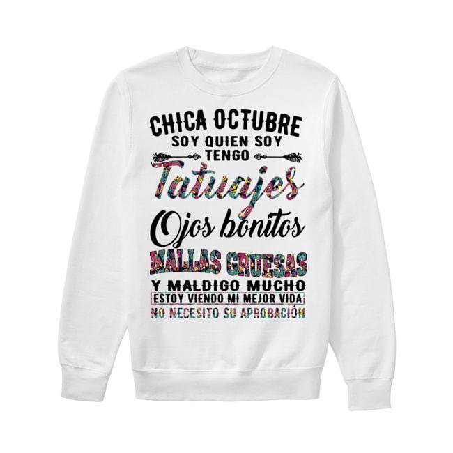 Floral Chica Octubre Soy Quien Soy Tengo Tatuajes Ojos Bonitos Mallas Gruesas Sweater