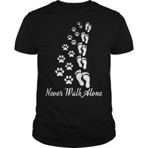 Footprint And Paw Dog Never Walk Alone Shirt