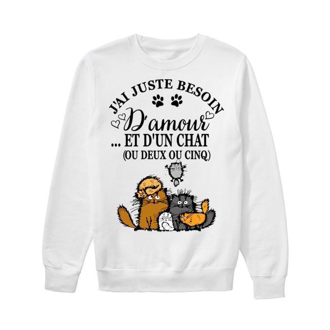 J'ai Juste Besoin D'amour Et D'un Chat Ou Deux Ou Cinq Sweater