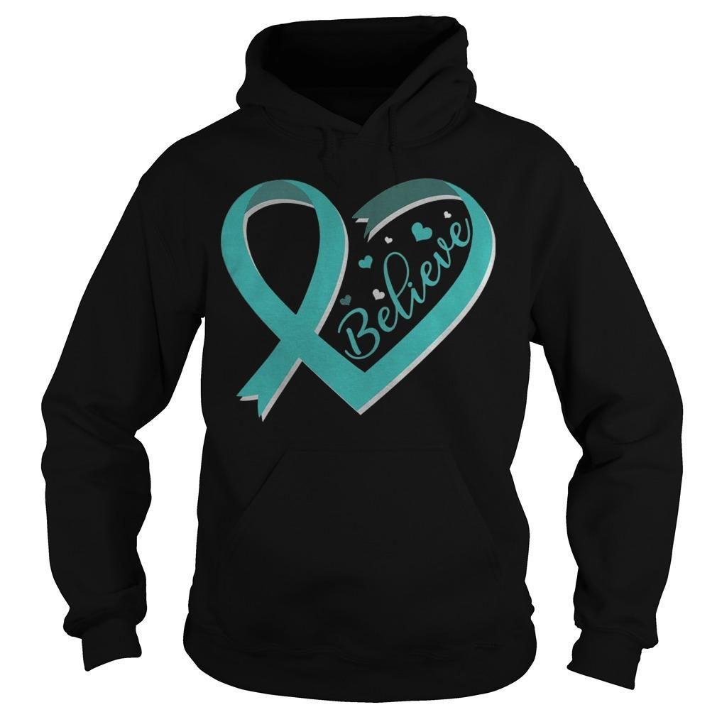 Ovarian Cancer Awareness Ribbon Believe Hoodie