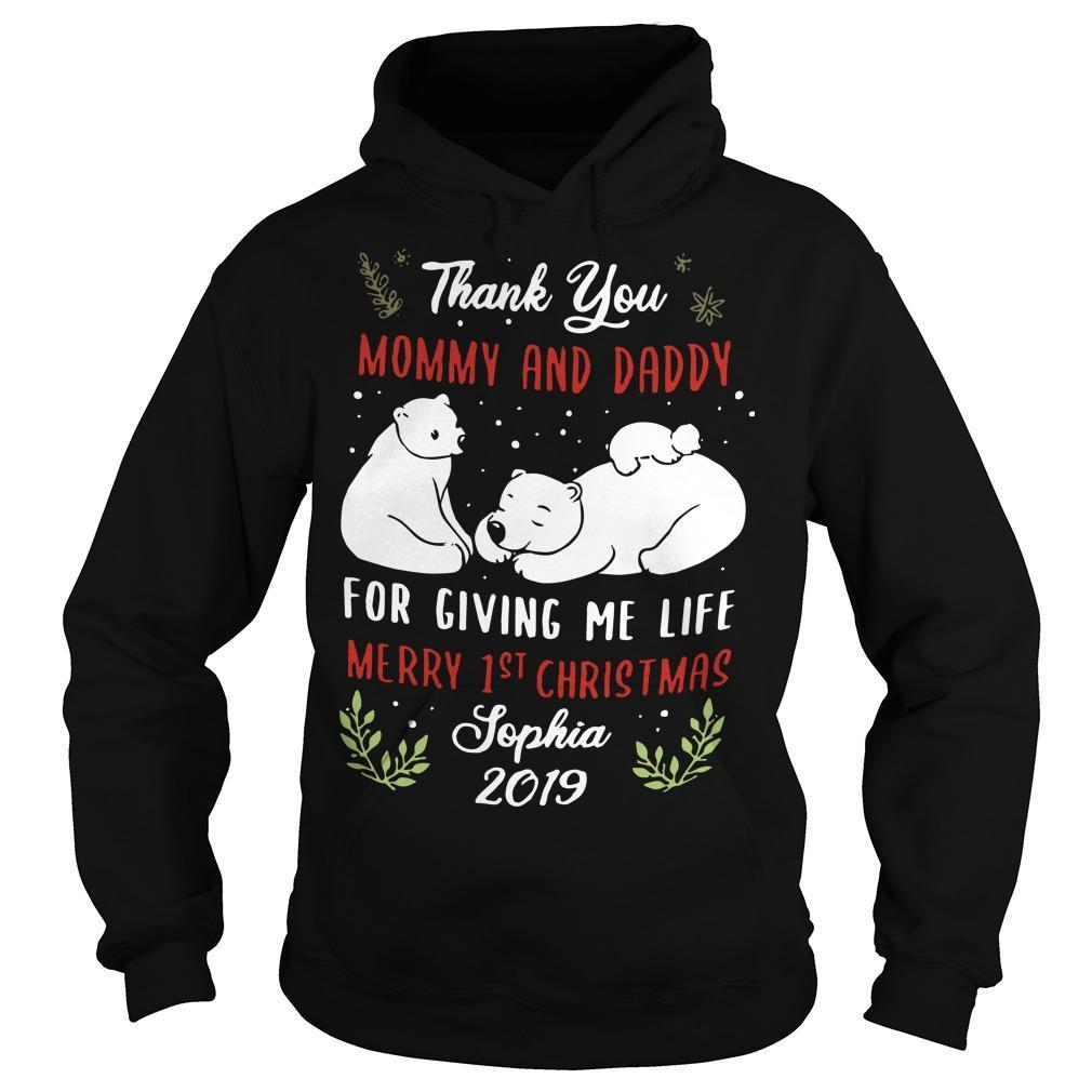 Polar Bear Thank You Mommy And Daddy For Giving Me Life Merry 1st Christmas Hoodie