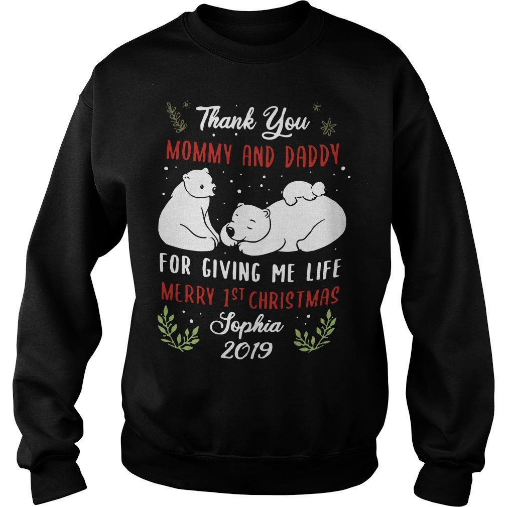 Polar Bear Thank You Mommy And Daddy For Giving Me Life Merry 1st Christmas Sweater