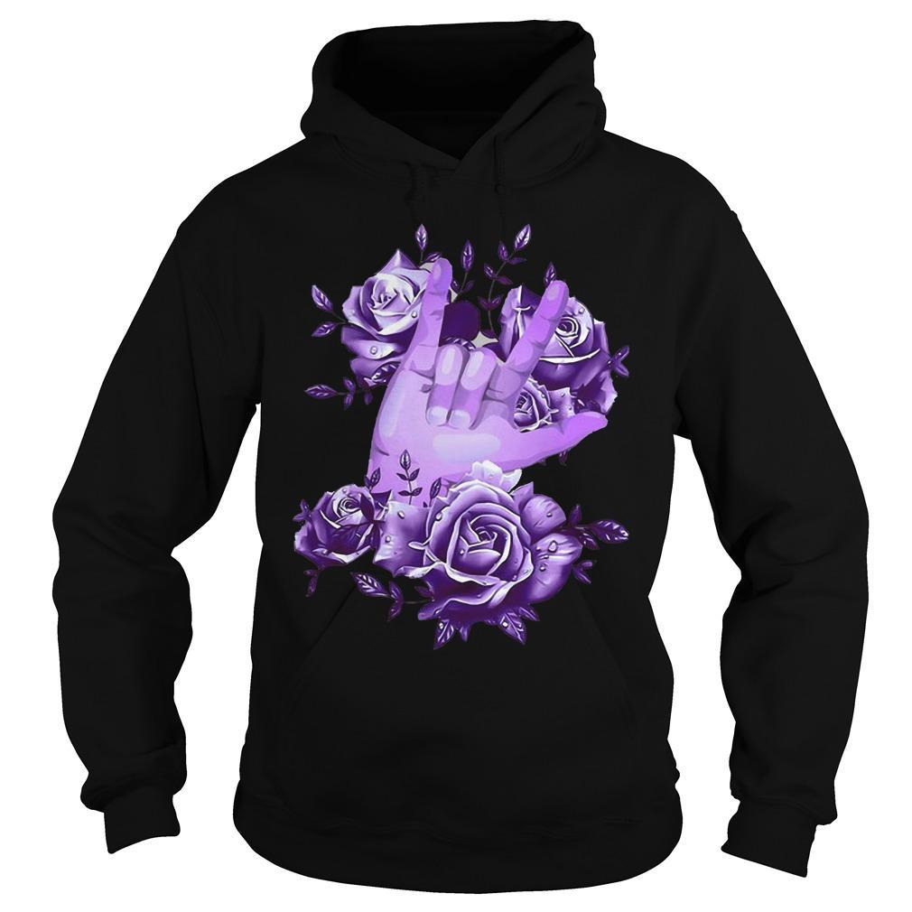 Rock N Roll Sign Language Purple Roses Hoodie