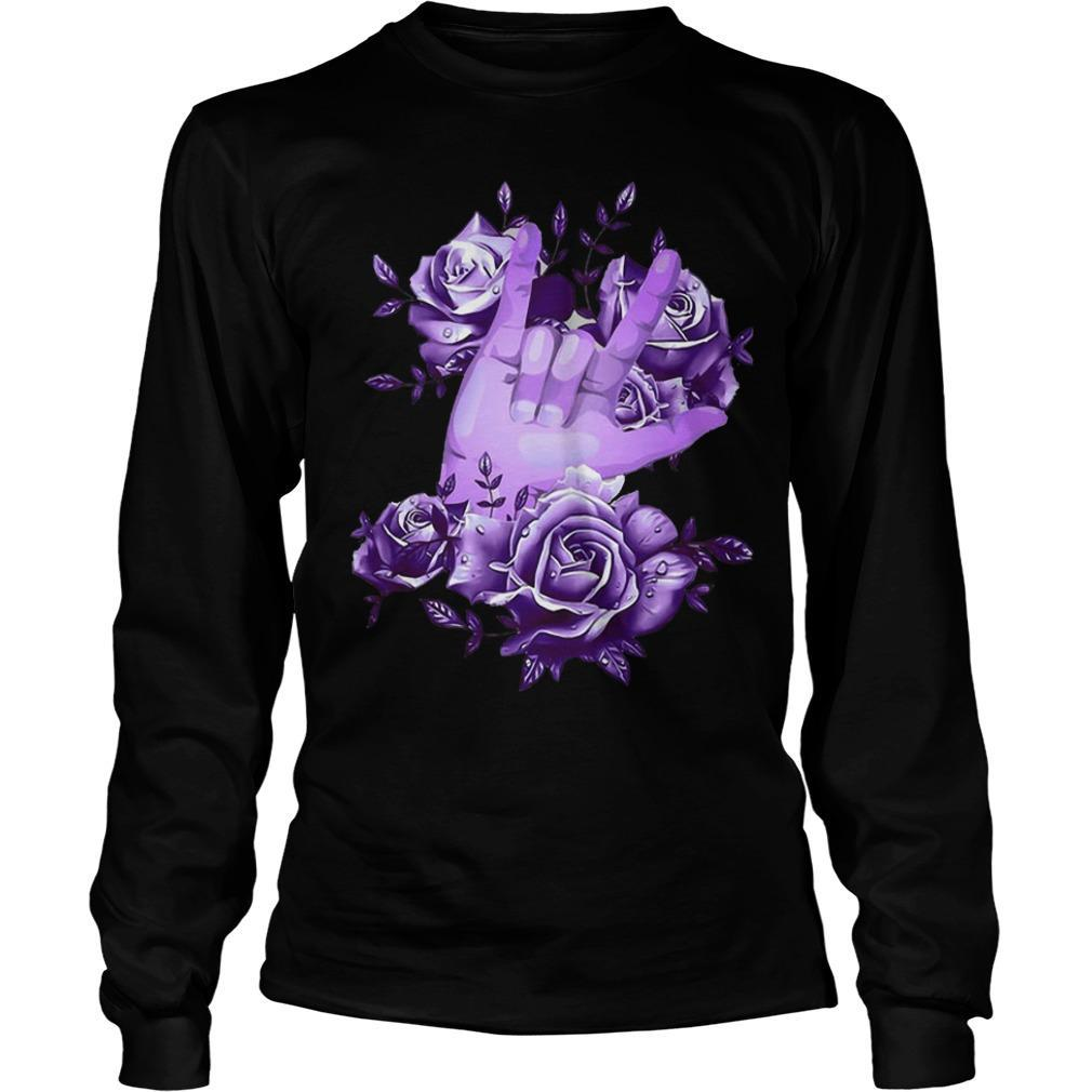 Rock N Roll Sign Language Purple Roses Longsleeve