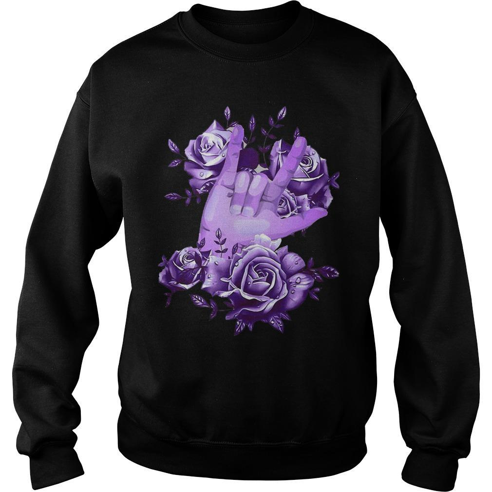 Rock N Roll Sign Language Purple Roses Sweater