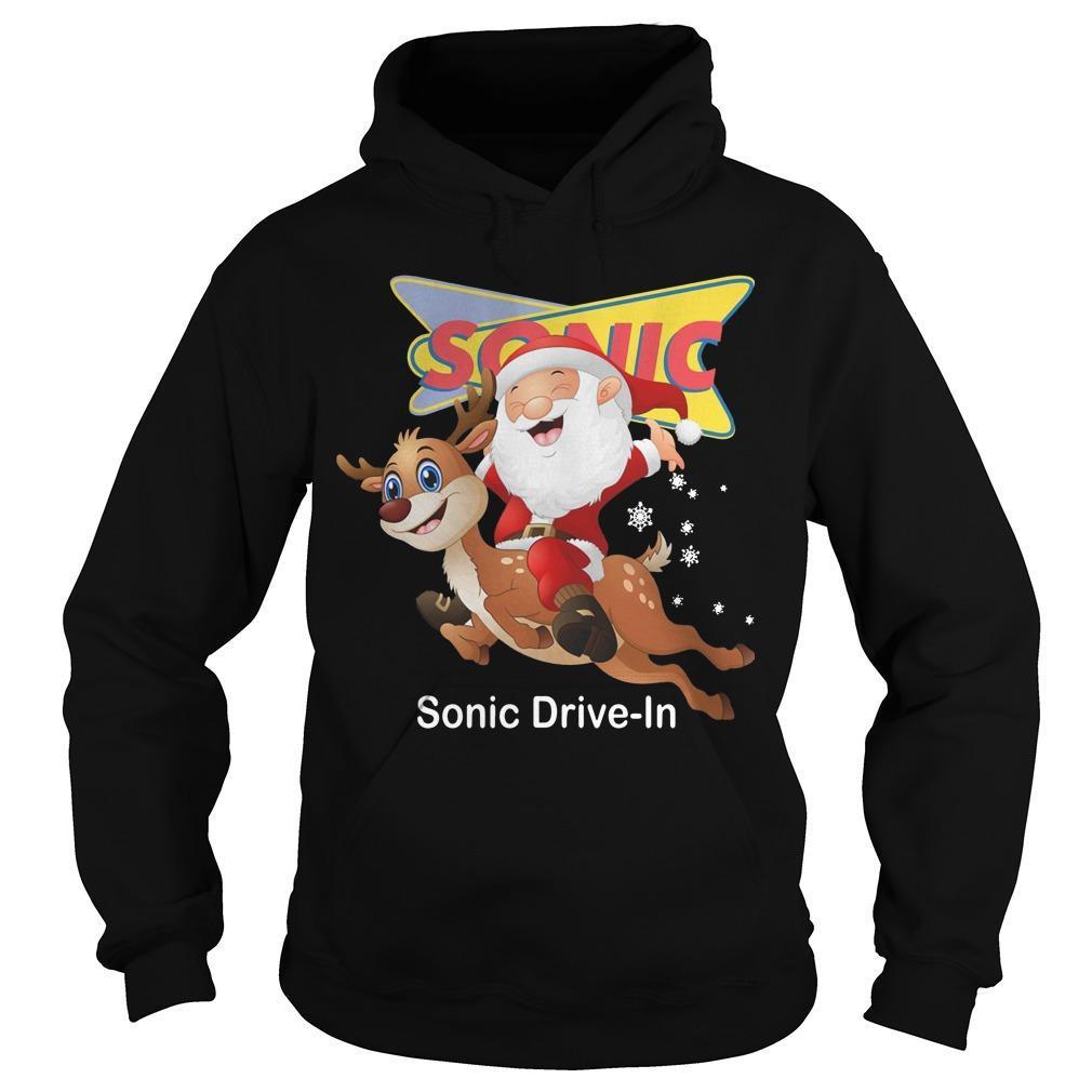 Santa Claus Riding Deeer Sonic Drive In Hoodie