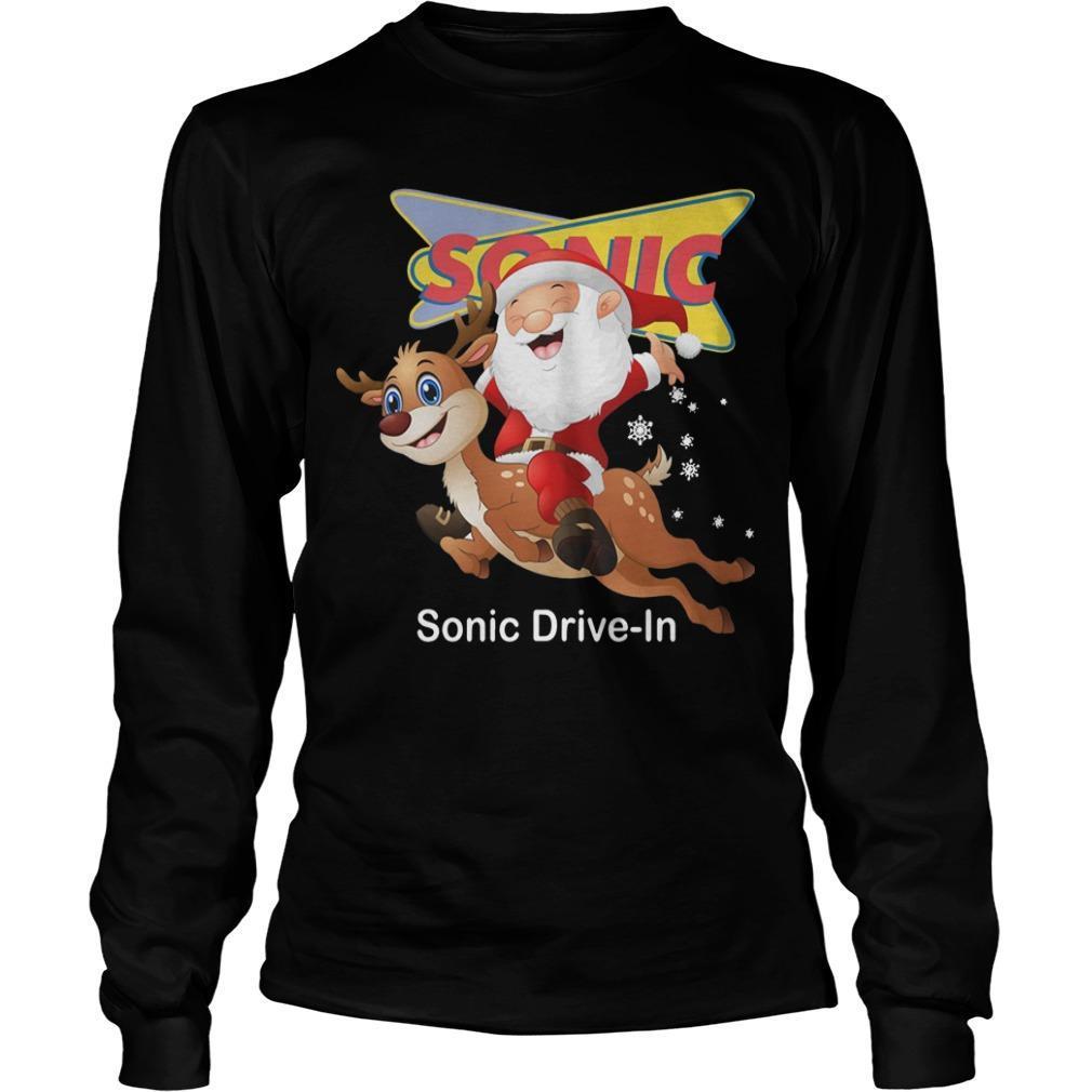 Santa Claus Riding Deeer Sonic Drive In Longsleeve
