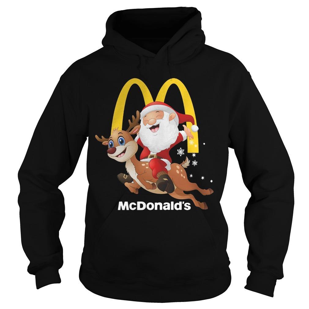 Santa Claus Riding Reindeer Mcdonald Hoodie