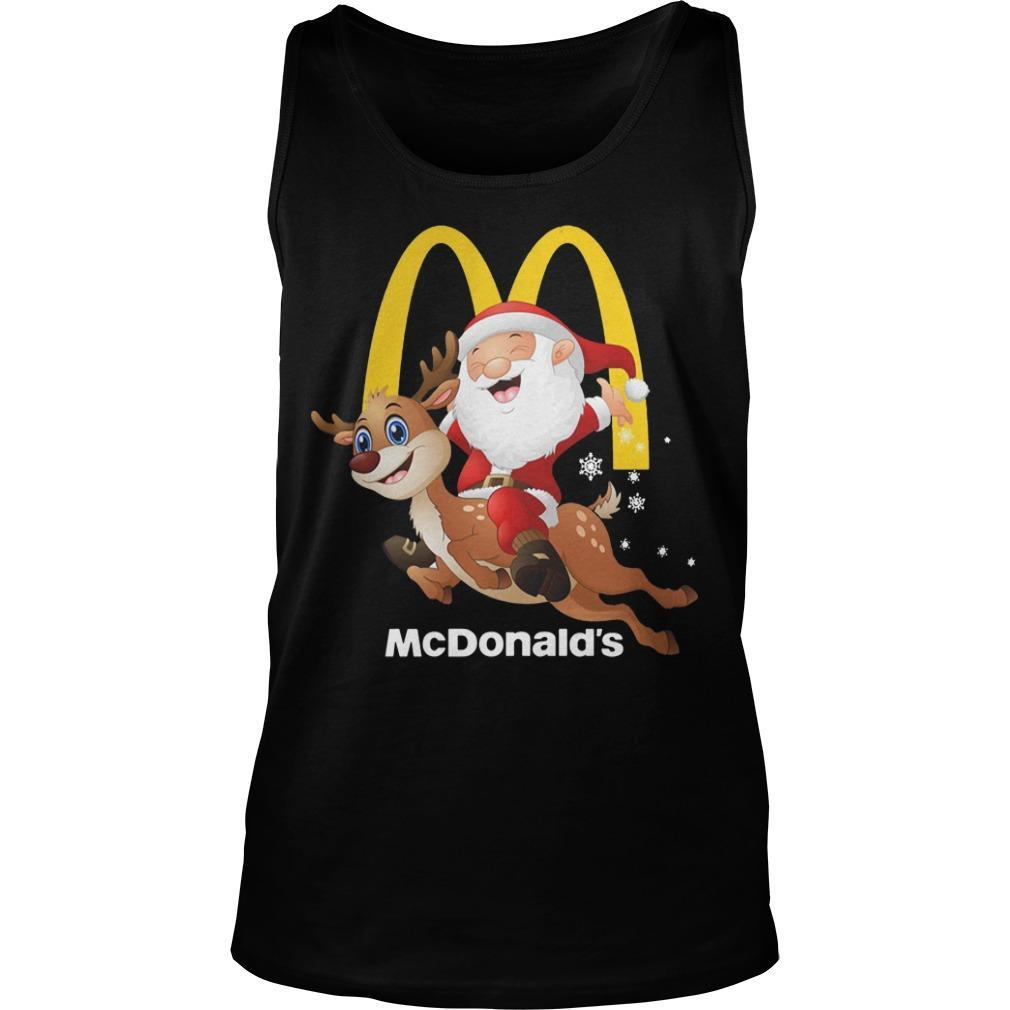 Santa Claus Riding Reindeer Mcdonald Tank Top