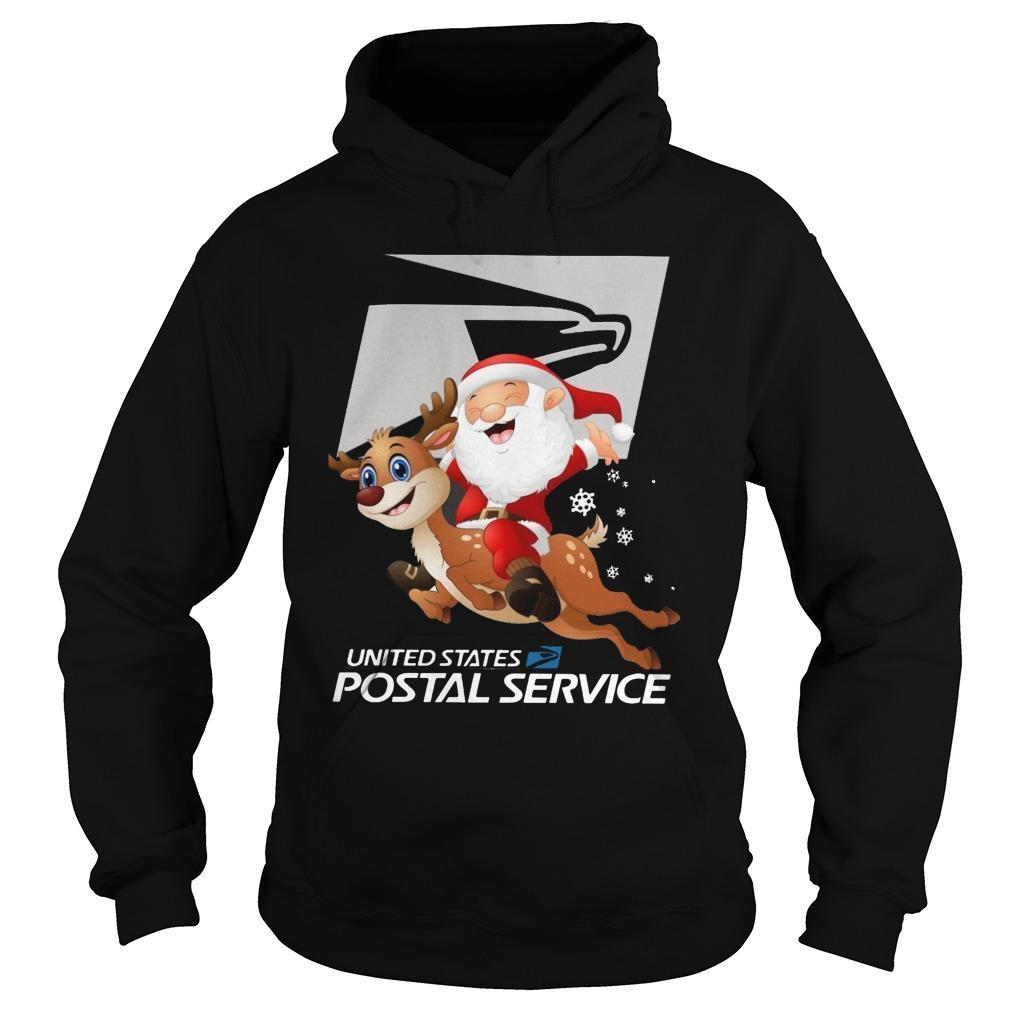 Santa Claus Riding Reindeer United States Postal Service Hoodie