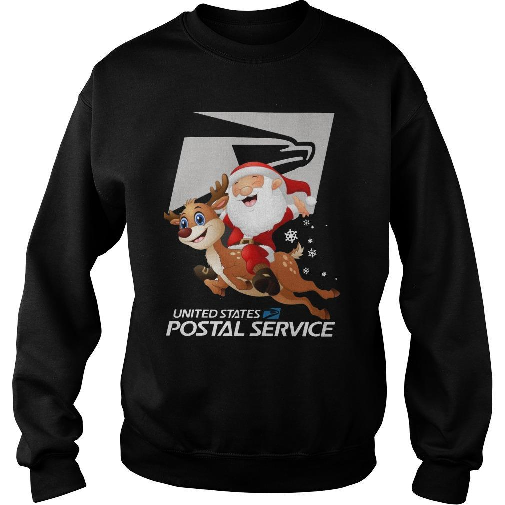 Santa Claus Riding Reindeer United States Postal Service Sweater