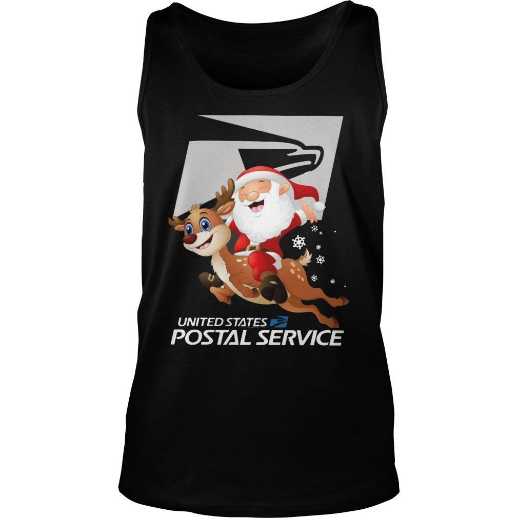 Santa Claus Riding Reindeer United States Postal Service Tank Top