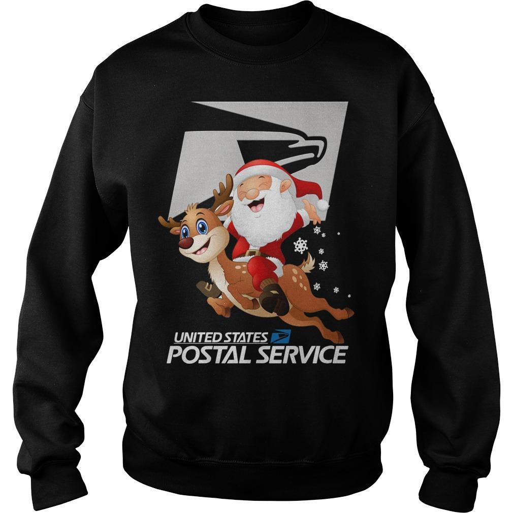 Santa Riding Deer United States Postal Service Sweater