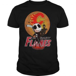 Sunset Jack Skellington Holding Hockey Stick Calgary Flames Shirt