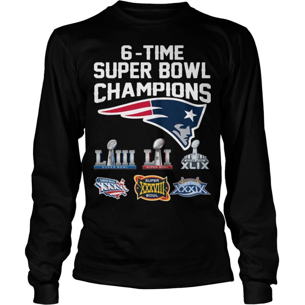 6 Time Super Bowl Champions New England Patriots Longsleeve