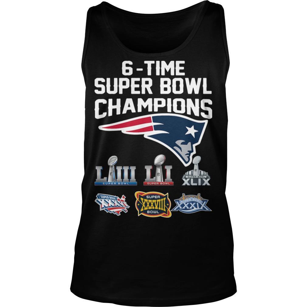 6 Time Super Bowl Champions New England Patriots Tank Top