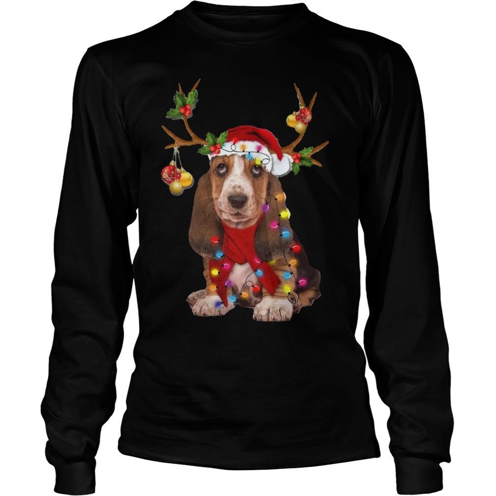 Basset Hound Reindeer Christmas Longsleeve