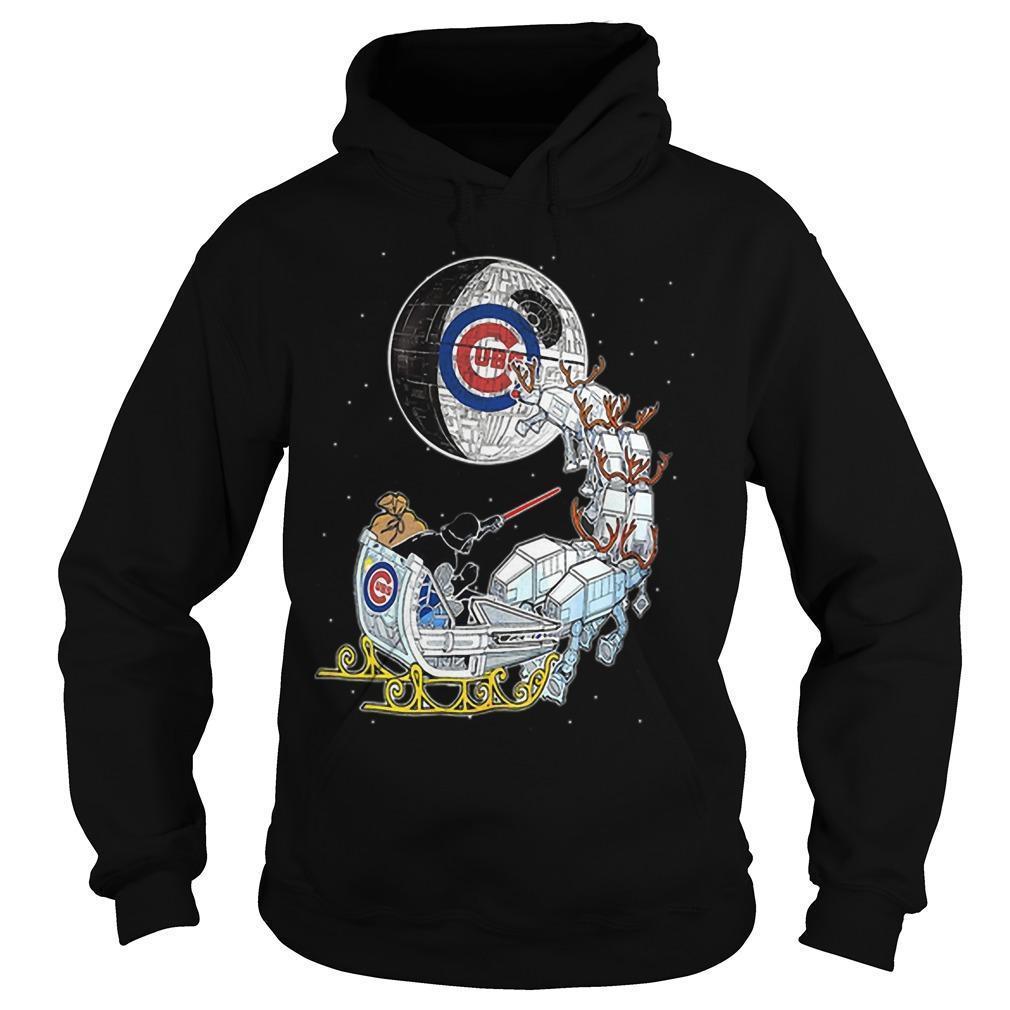 Christmas Chicago Cubs Star Wars Darth Vader Santa's Sleigh Hoodie