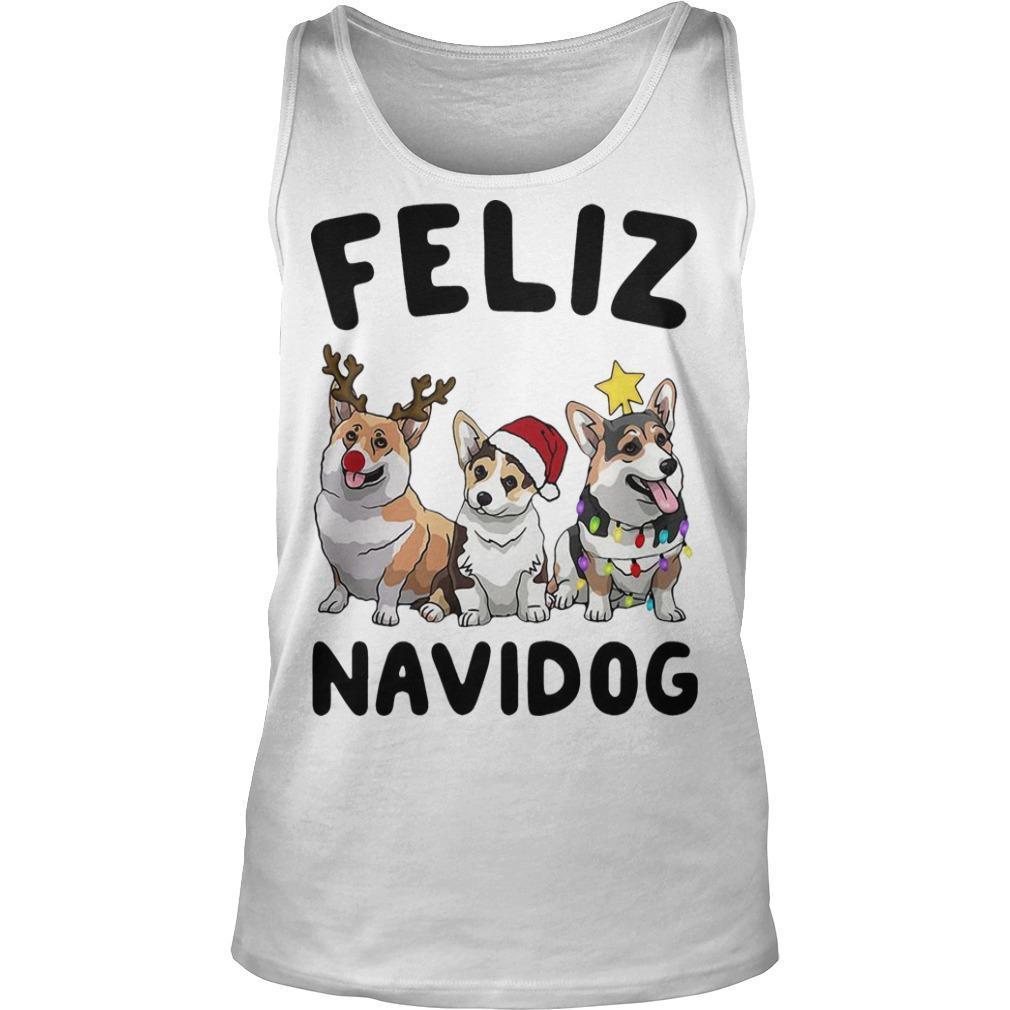 Christmas Pug Feliz Navidog Tank Top