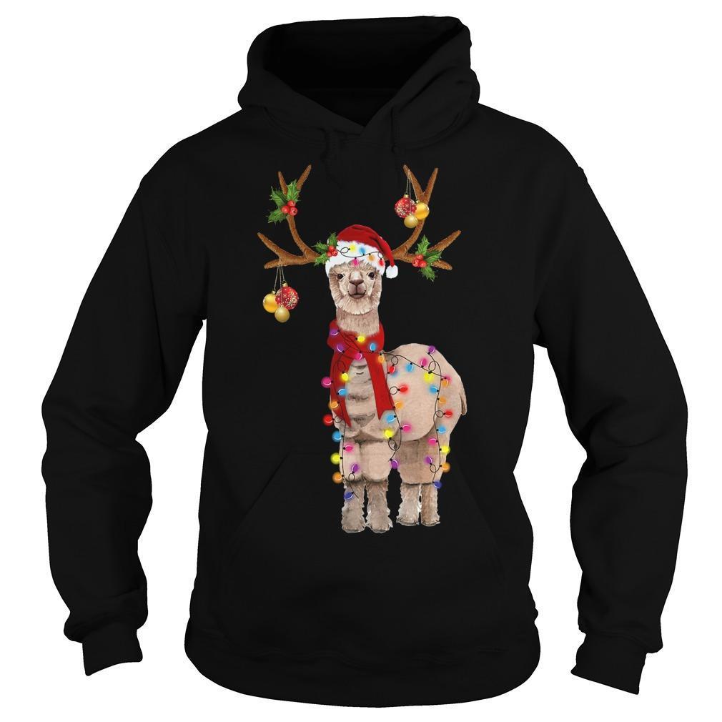 Llama Reindeer Christmas Light Hoodie