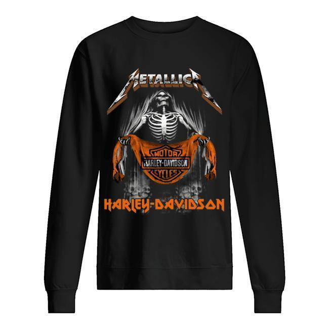 Metallica Skull Motor Cycles Harley Davidson T Sweater
