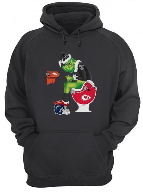 Oakland Raiders Grinch Santa Sitting Kansas Chiefs Toilet Denver Broncos Hoodie