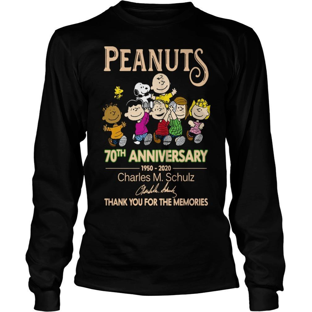 Peanuts 70th Anniversary Charles M Schulz Thank You For The Memories Longsleeve