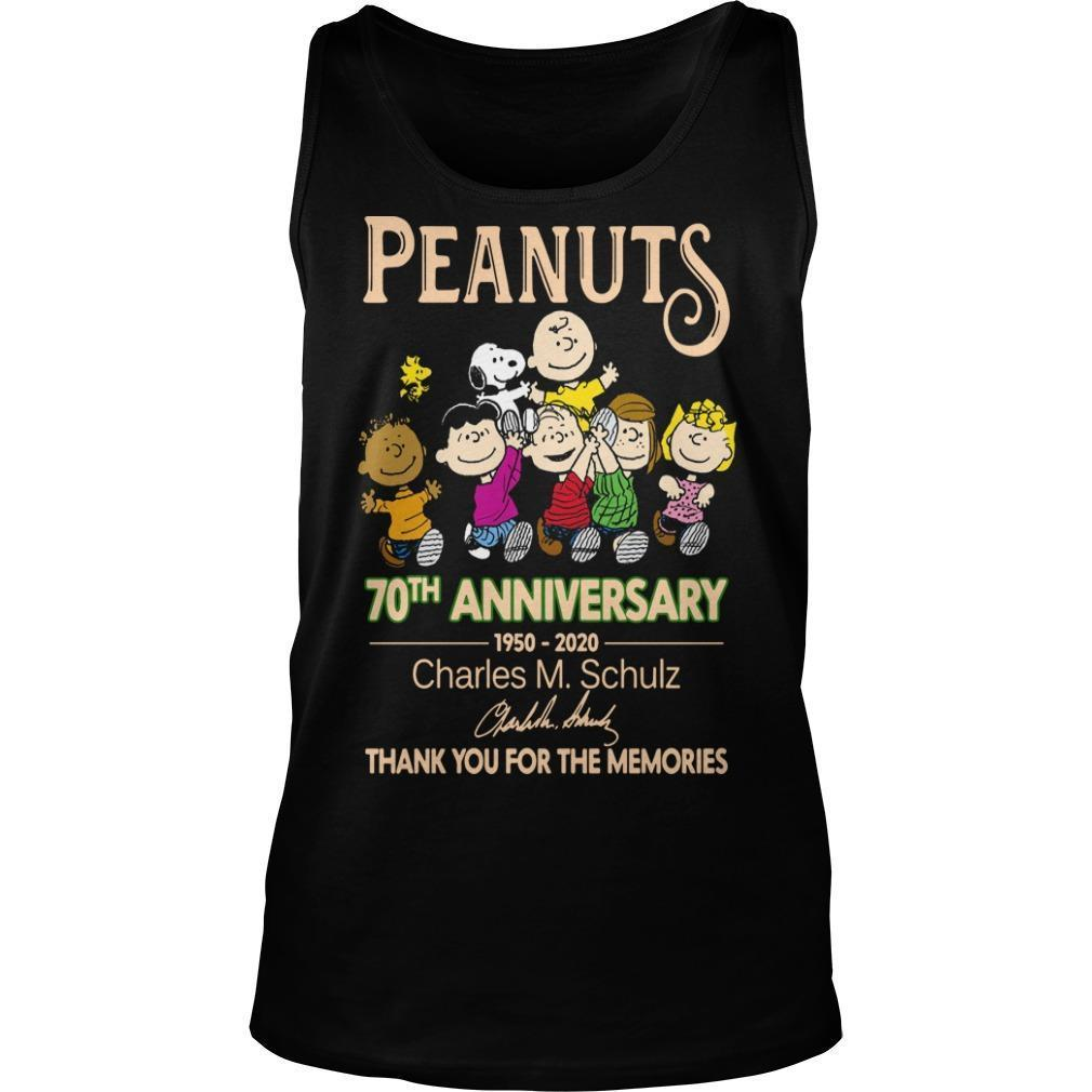 Peanuts 70th Anniversary Charles M Schulz Thank You For The Memories Tank Top