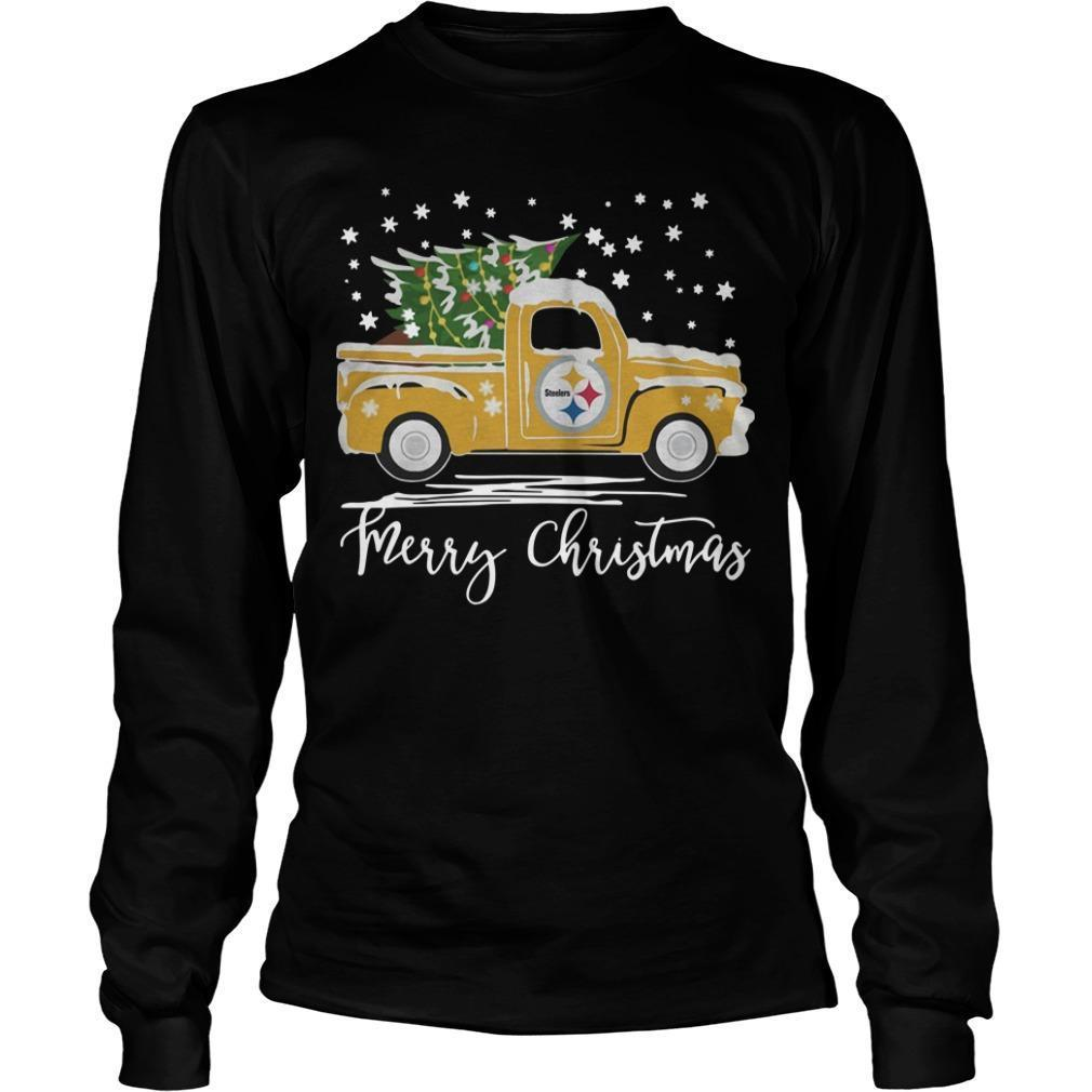Pittsburgh Steelers Truck Merry Christmas Longsleeve
