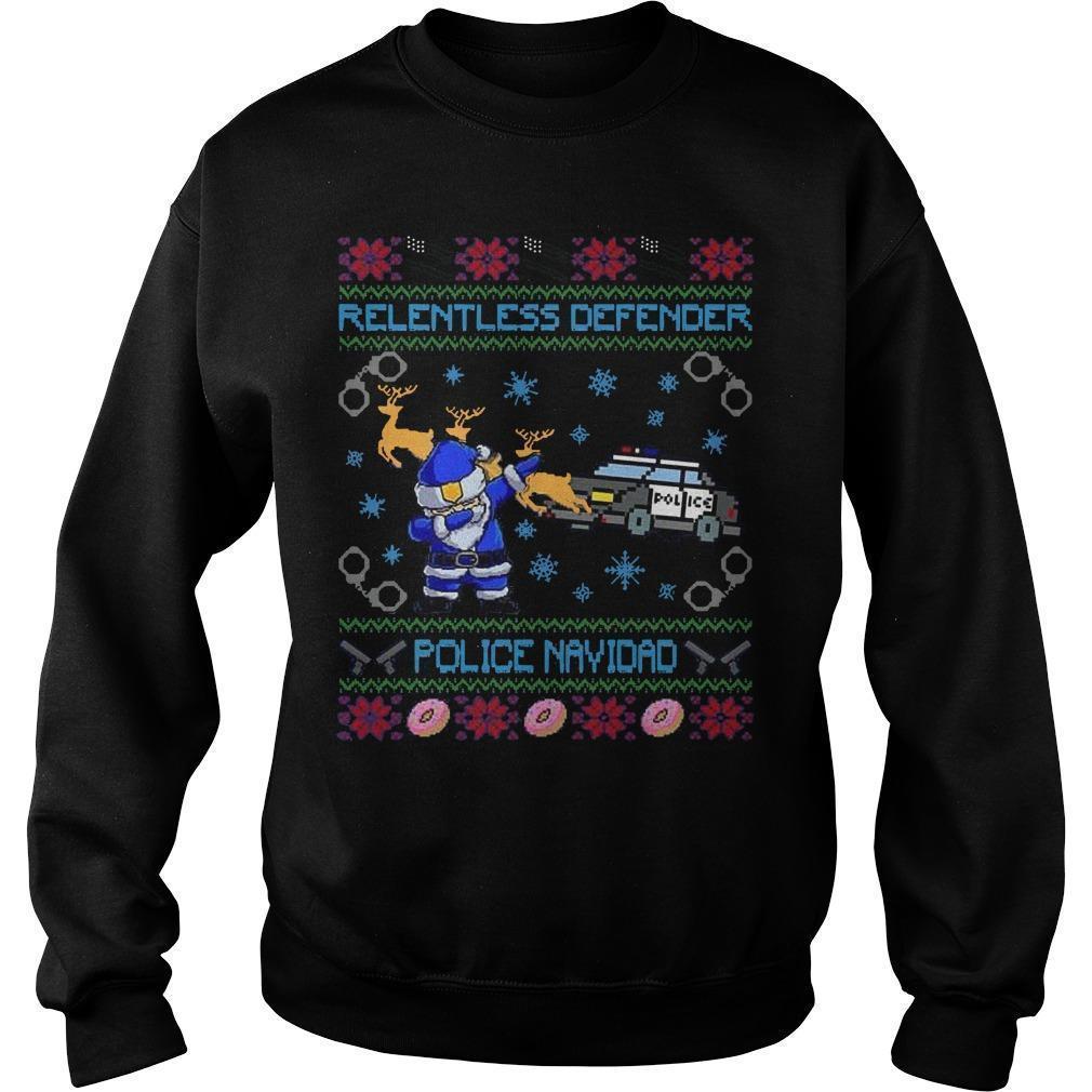 Relentless Defender Police Navidad Sweater