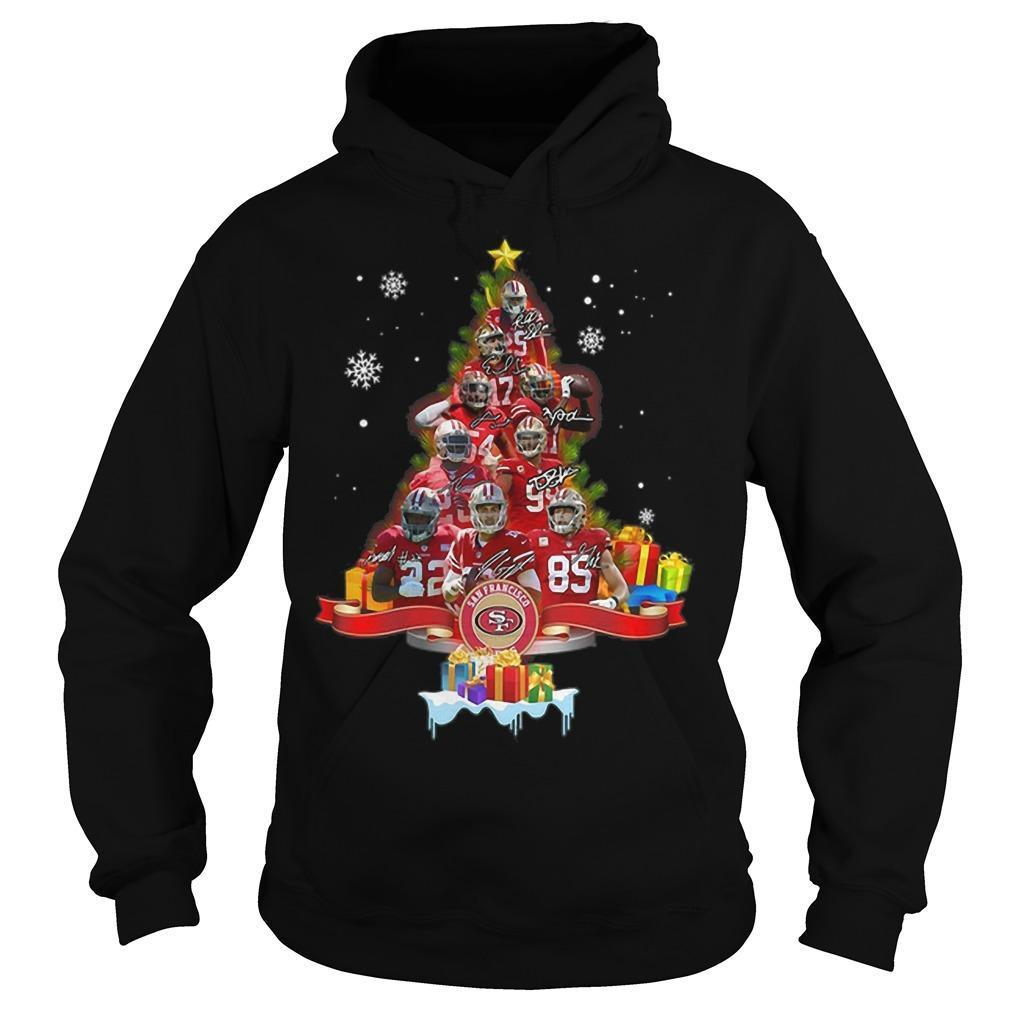 San Francisco 49ers Signatures Christmas Tree Hoodie