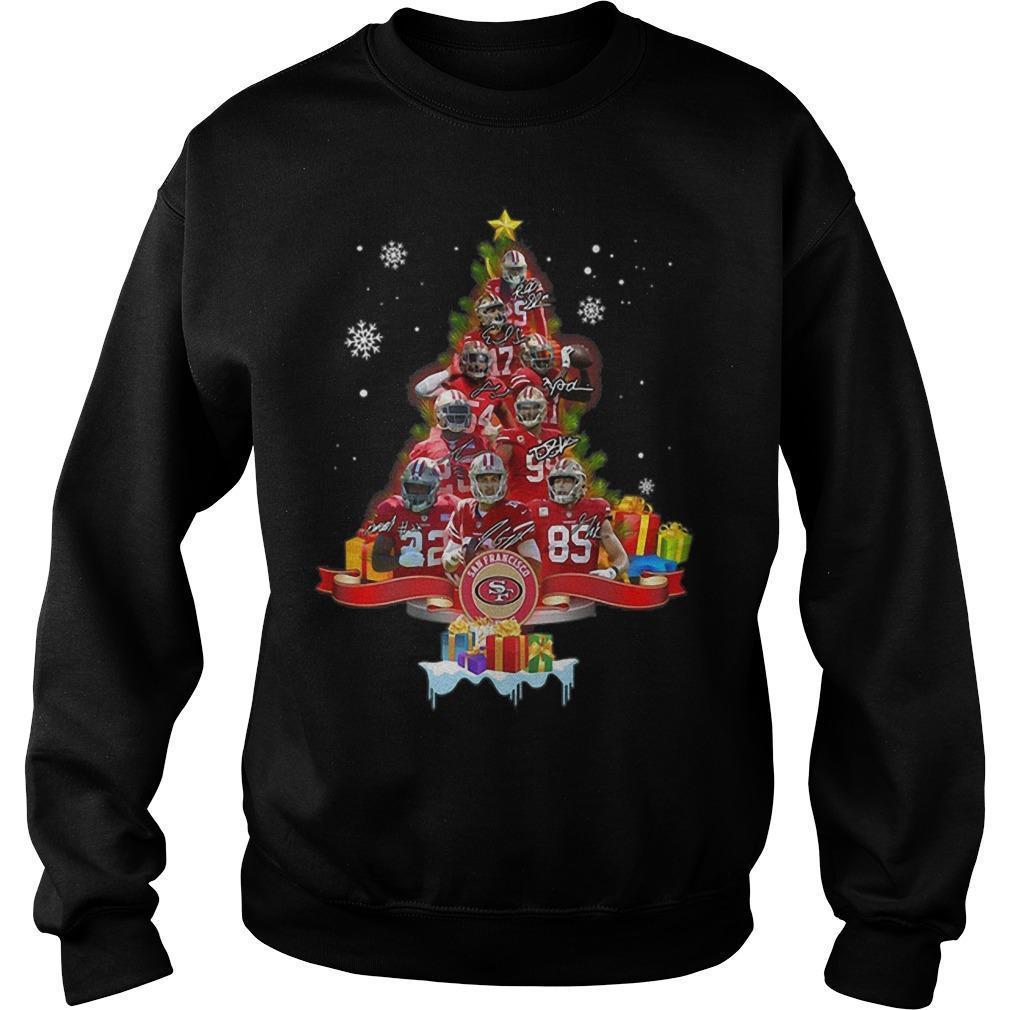 San Francisco 49ers Signatures Christmas Tree Sweater