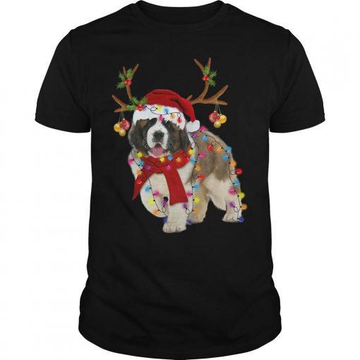St Bernard Reindeer Christmas Light Shirt