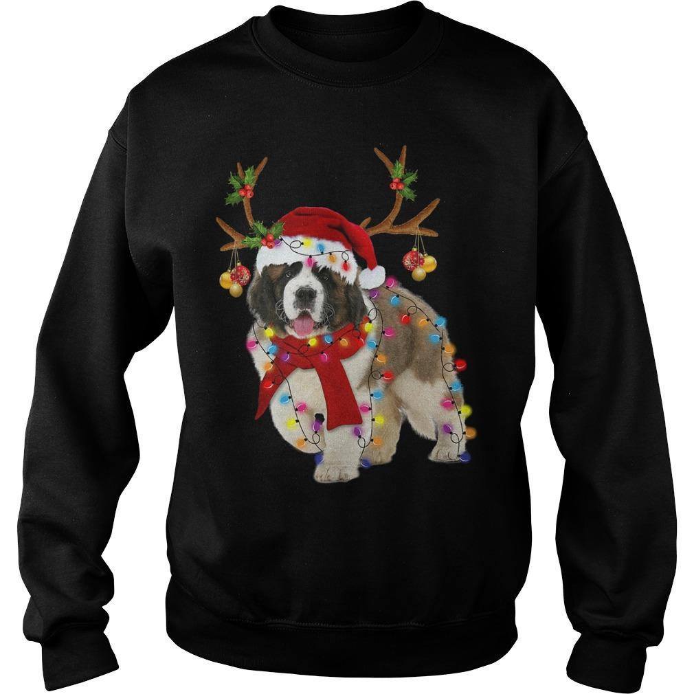St Bernard Reindeer Christmas Light Sweater