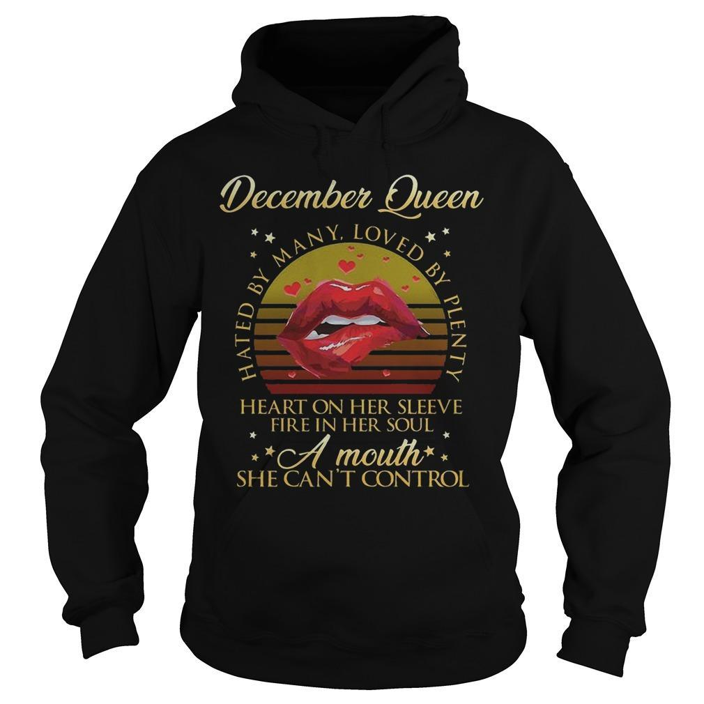 Vintage Lips December Queen Hated By Many Loved By Plenty Hoodie
