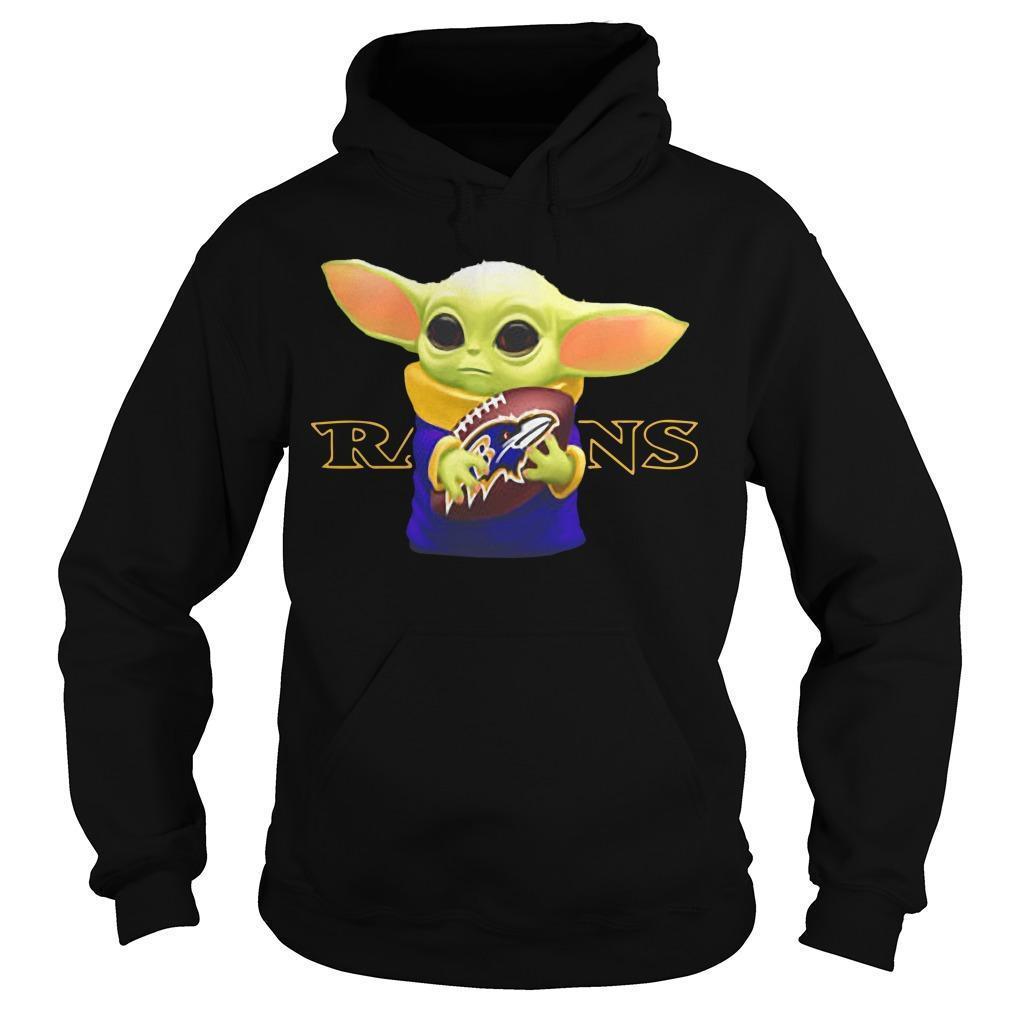 Baby Yoda Hugging Baltimore Ravens Hoodie