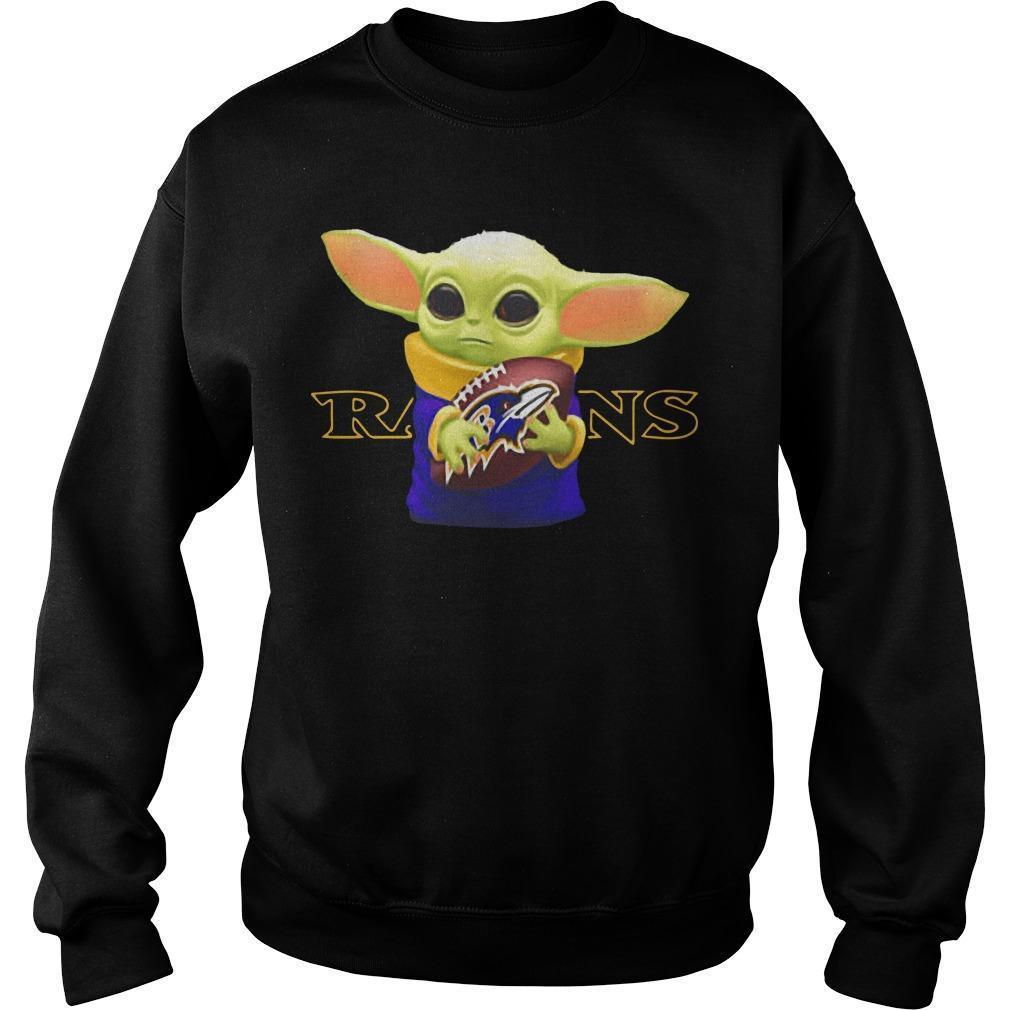 Baby Yoda Hugging Baltimore Ravens Sweater