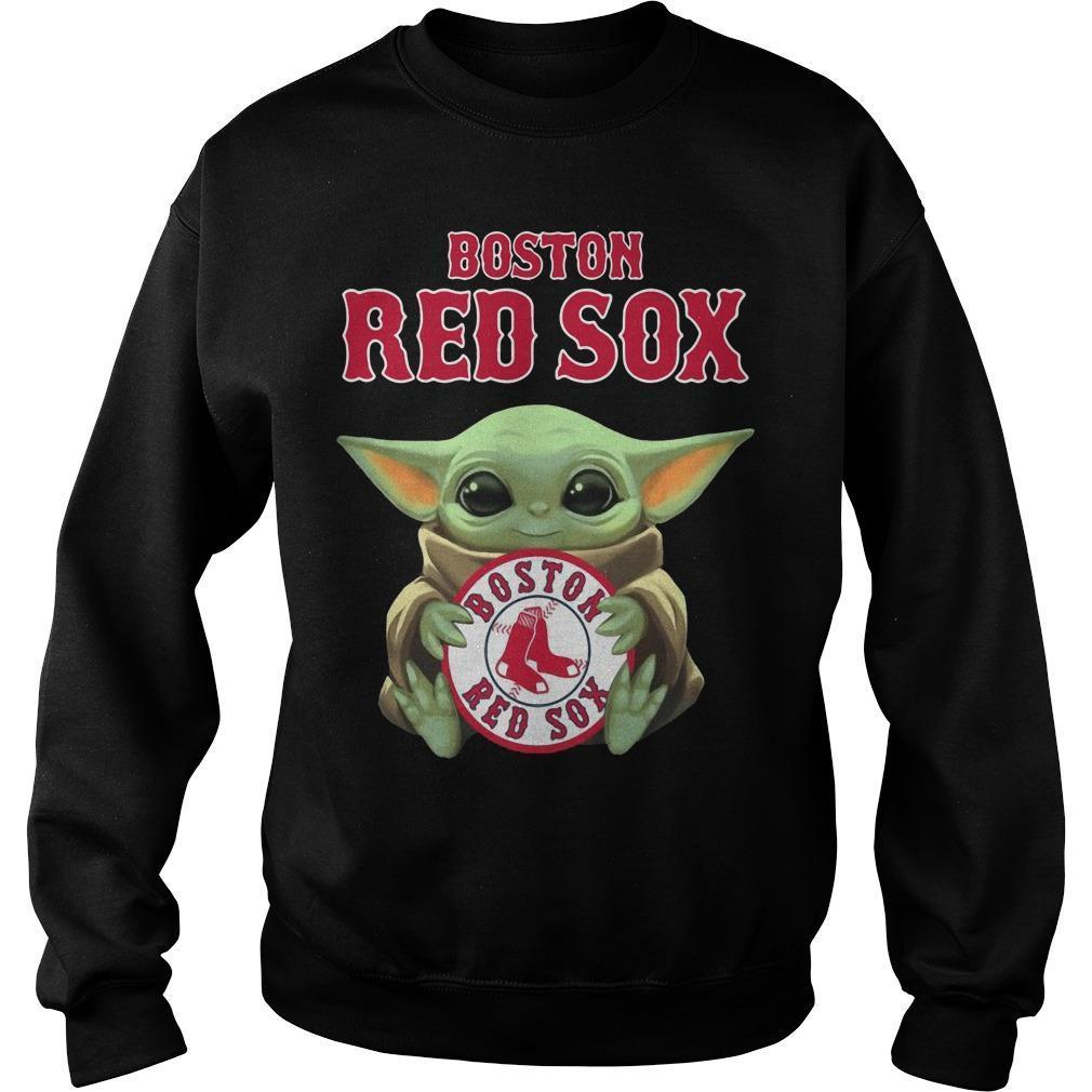 Baby Yoda Hugging Boston Red Sox Sweater