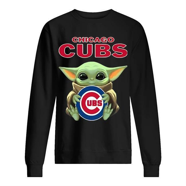 Baby Yoda Hugging Chicago Cubs Sweater