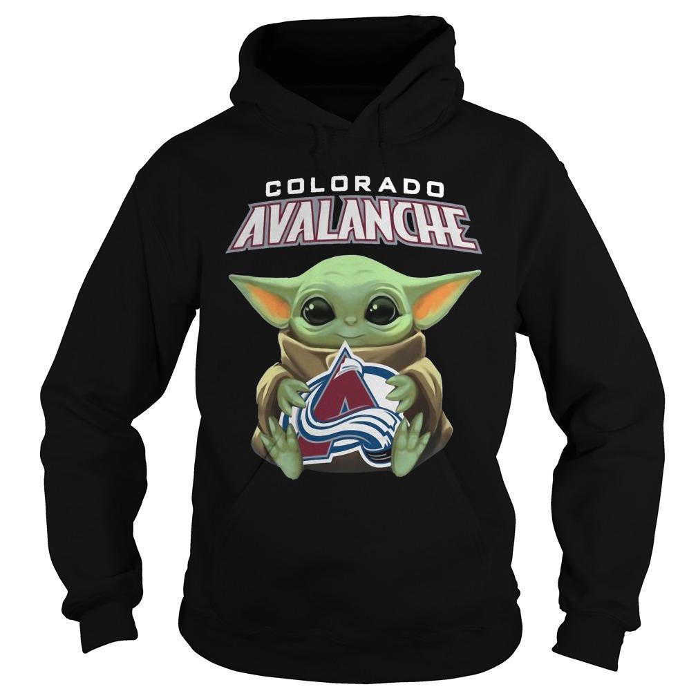 Baby Yoda Hugging Colorado Avalanche Hoodie