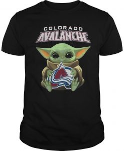 Baby Yoda Hugging Colorado Avalanche Shirt