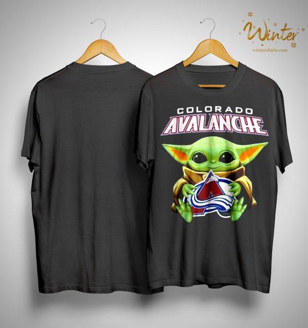 Baby Yoda Hugging Colorado Avalanche Shirt