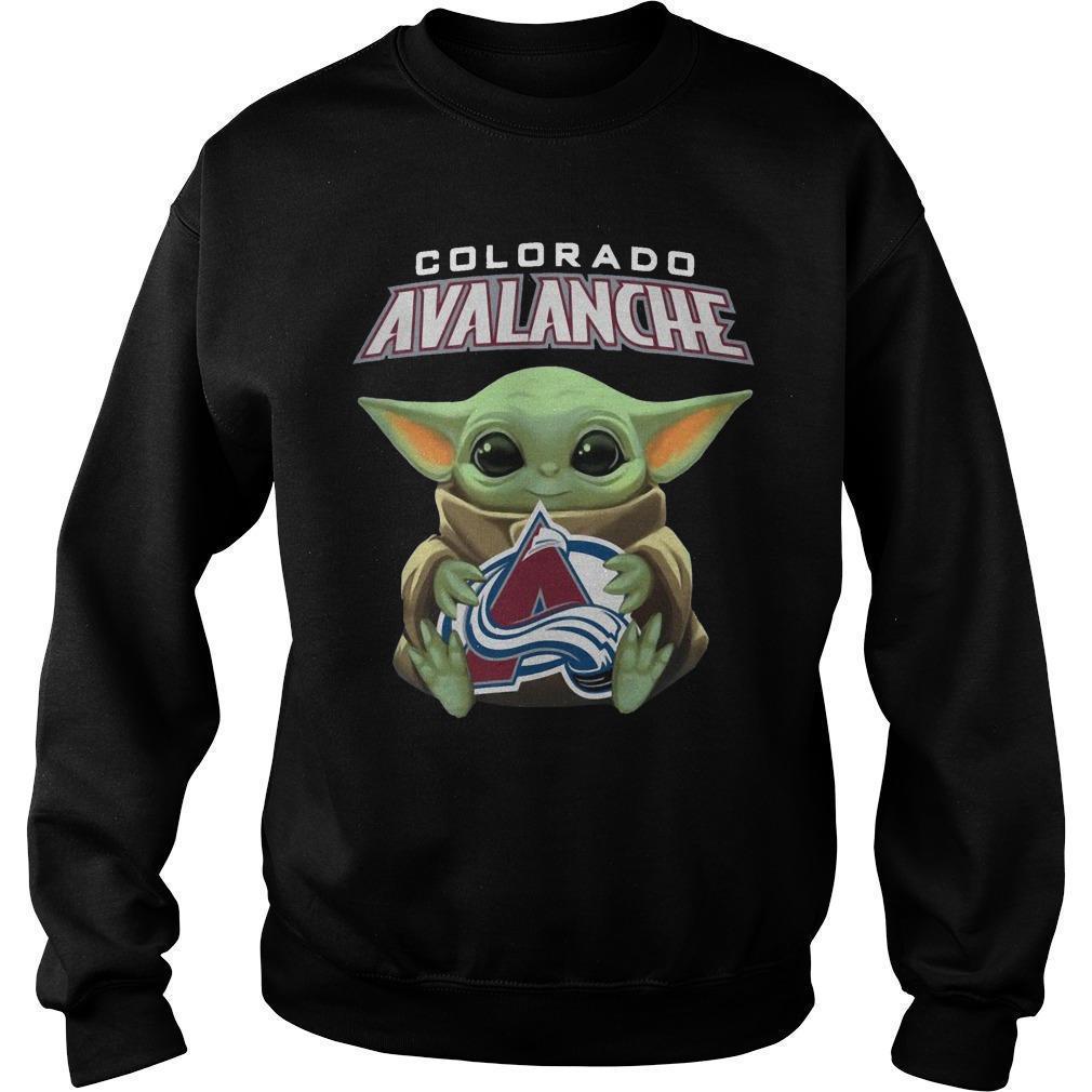 Baby Yoda Hugging Colorado Avalanche Sweater