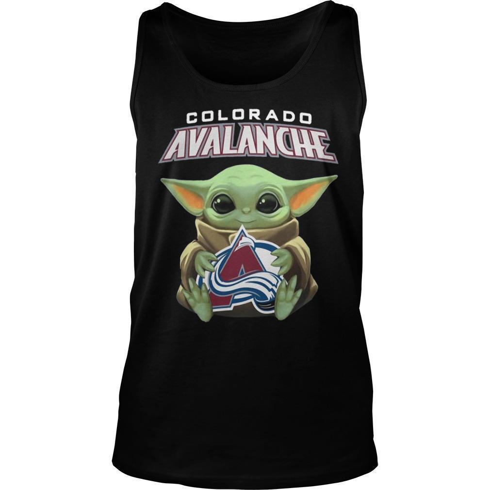 Baby Yoda Hugging Colorado Avalanche Tank Top