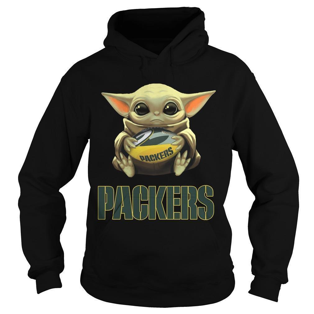 Baby Yoda Hugging Green Bay Packers Hoodie